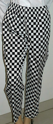 Chef Pants black and white Checkered Elastic Drawstring Unisex Small