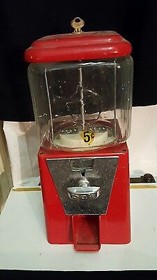 oak hill mfg. acorn bubblegum  candy   5 cent machine. has key.  MID CENTURY