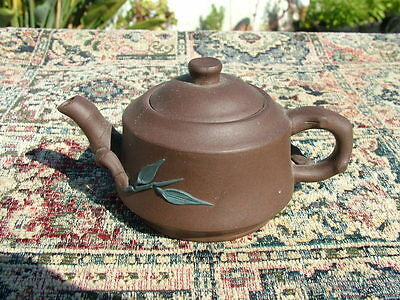 Vintage Chinese  Bamboo & Dogwood Scupted Clay Teapot