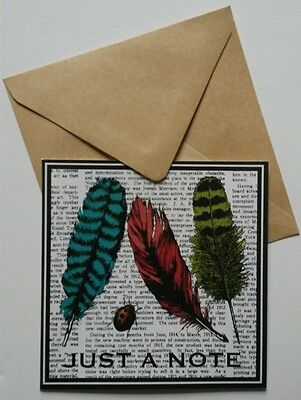 Set of 6 Blank Square Note Cards & Envelopes Greeting ~ Just A Note Feathers