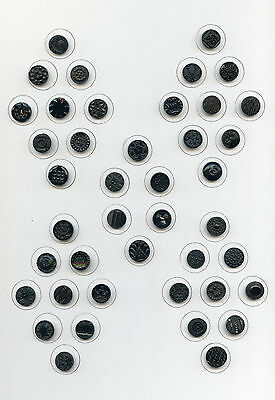 "COLLECTOR'S CARD--42 SMALL BLACK GLASS buttons---DIFFERENT DESIGNS--5/8""---9/16"""