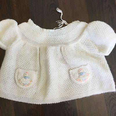 RENROs IMPORTS Vintage 1970's White Acrylic Baby Girl Shirt 6-12 MONTHS