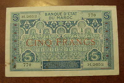 Morocco ND 1924 5 Francs Note P9