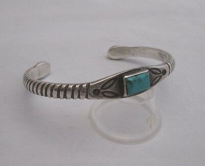 EARLY SLIM NAVAJO CHISELED SILVER BRACELET with TERMINAL TURQUOISE STONES