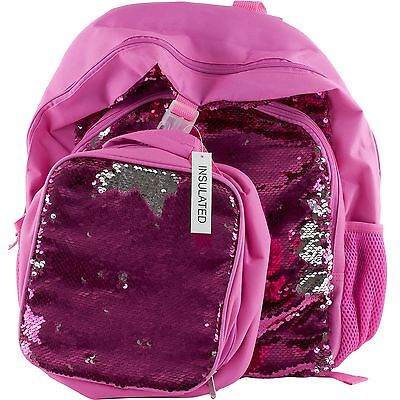 Flip Sequins Sparkle Girls School Backpack Book Bag & Soft Lunch Box Tote Pink