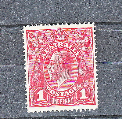 KGV 1d Red Single Line perf Mint Hinged