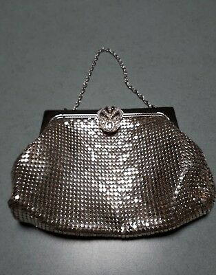 Vintage Glow Mesh Evening clutch Art Deco Silver