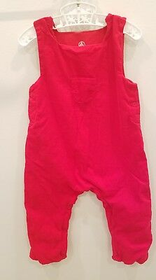 Baby infant Petit Bateau red longall romper boys size 6 month corduroy holiday