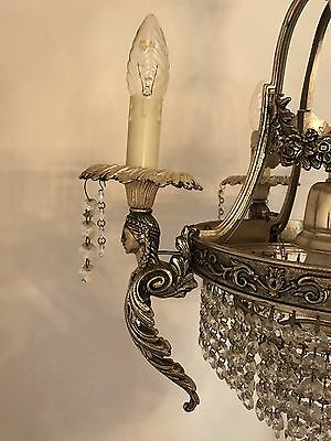 Bronze Figural Wedding Cake Chandelier Barock Regency Empire Lamp Crystal