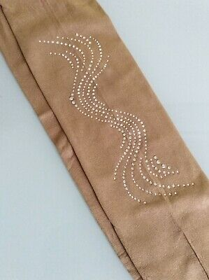 Footed Skating Tights With Lovely Long  Clear Crystal Design