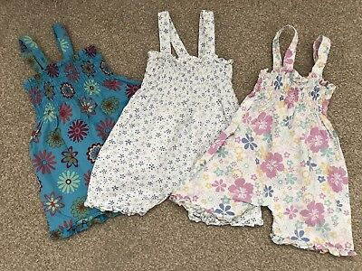 Jojo Maman Bebe Floral Playsuits/Rompers 3-6months Baby Girl