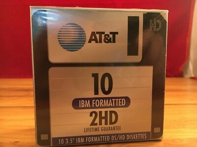 """New 10 Pack AT&T IBM Formatted High Density 2HD 1.44MB 3.5"""" Floppy Diskettes"""