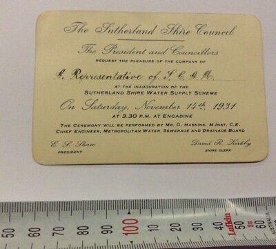 Sutherland Shire Inauguration of Water Supply Personal Invite 1931
