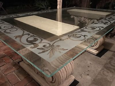 Frosted Patterned Glass Kitchen/Dining Table With Concrete Legs