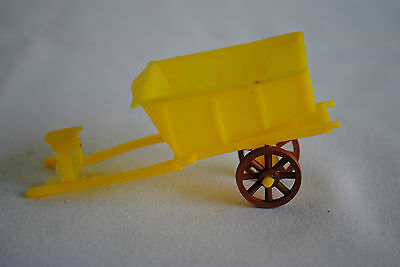 VINTAGE YELLOW  & BROWN MINIATURE TOY HORSE WAGON CART w HARNESS