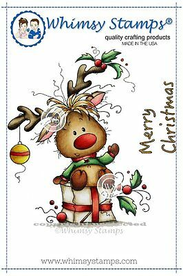 Whimsy Stamps - Cling Mounted Rubber Stamp - Rudolph - Christmas