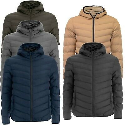 Mens Puffer Jacket Hooded Red Blue Black Plain Quilted Padded Coat Brave Soul