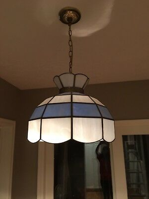 Beautiful Vintage Tiffany Style Blue and White Stained Glass Hanging Light Lamp