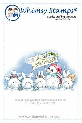 Whimsy Stamps - Cling Mounted Rubber Stamp - Christmas Bunny Row