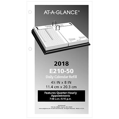 At-A-Glance E210-50 Large Desk Calendar Refill, 4 1/2 X 8, White, 2018 (e21050)