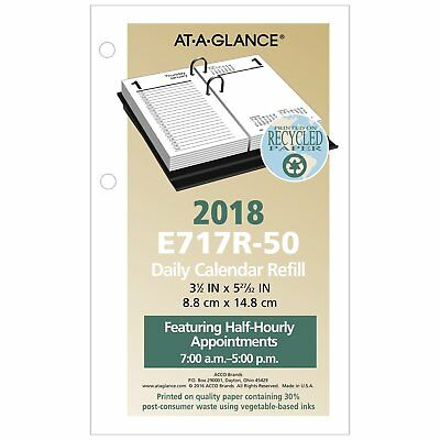 At-A-Glance E717R-50 Recycled Desk Calendar Refill, 3 1/2 X 6, White, 2018