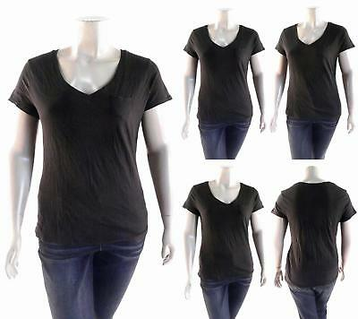Route 66 Womens size XL Cotton Short Sleeve V-Neck Basic T-Shirt Tee Black CHOP