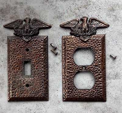 Vintage Patriotic Hammered Metal Switch Plate and Outlet Cover Eagle Arrows