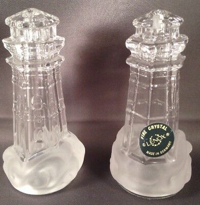 Lenox  Crystal Nautical Lighthouse Salt & Pepper Shakers Made In Germany