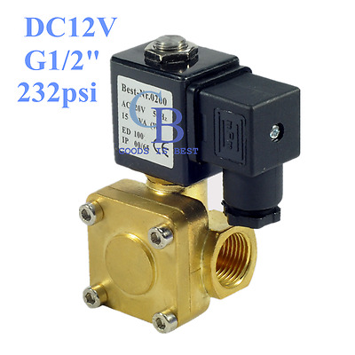 "DC12V G1/2"" Brass Electric Solenoid Valve 232 psi Normally Closed Air Water"