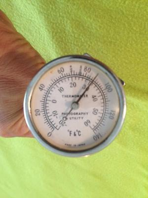 "Vintage Working Stainless Thermometer Photography and Utility Japan 6"" Stem"