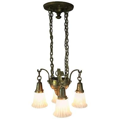 Vintage Mission Arts & Crafts Four-Light Hanging Light Fixture, 20th Century