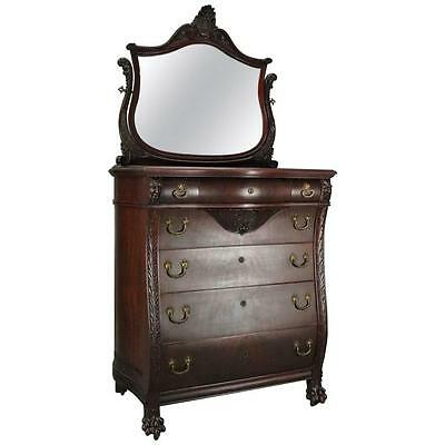 Antique Flint & Horner Carved Mahogany and Bronze Bombe High Chest with Mirror
