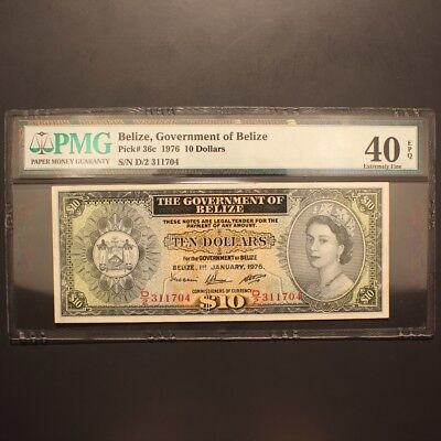 Belize 10 Dollars 1976 P#36c Banknote PMG 40 EPQ - Extremely Fine