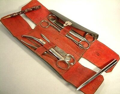 """ANTIQUE MEDICAL INSTRUMENTS IN LEATHER ETUI signed """"Con H.M."""" cased"""