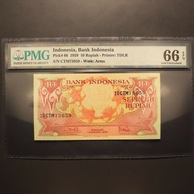 Indonesia 10 Rupiah 1959 P#66 Banknote PMG 66 EPQ - Gem Uncirculated