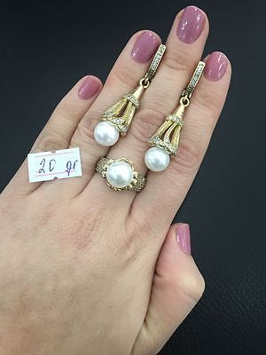 Sterling 925 Silver Turkish Handmade Jewelry Fabulous Akoya Pearl Set