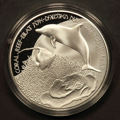"Israel New Sheqel 2012 ""Coral Reef-Eilat-Fish-Dolphin"" Silver Gem Proof w/ Cert"