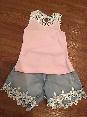 Toddler Girls M.L. Kids Pink Tank Top Shirt Lace Denim Shorts 4T 5T
