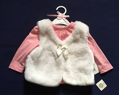 Cutie Pie Baby Pink White Top With Vest  2-pc Set Size 6-9 Months NWT