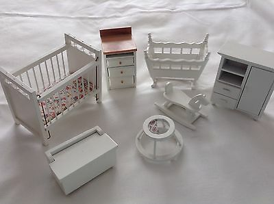 Dolls House Cot With Conopy Baby And Quilt Teddy Bear Accessories Picclick Uk