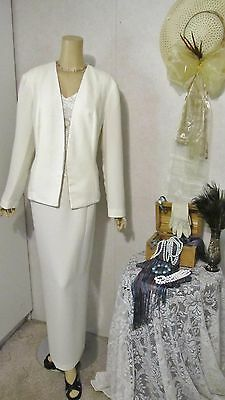 Mother Of The Bride Dress/Jacket by R & M Richards-Size 16 White/Silver Beaded