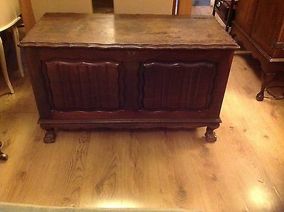 Antique Carved Oak Coffer Blanket Box Shoe Toy Storage Coffee Table c1910/1920