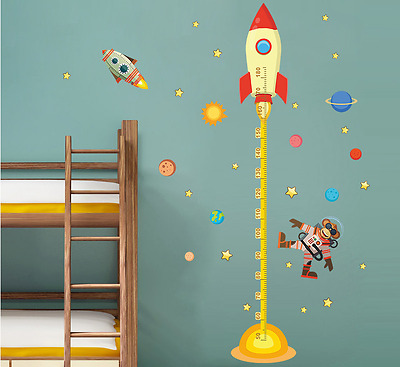 space Planet Monkey Pilot Rocket home decal height measure wall sticker for kids