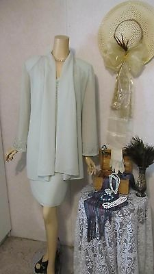 Mother Of The Bride Dress/Jacket Set by Coldwater Creek-16 Petite-Celery Beaded