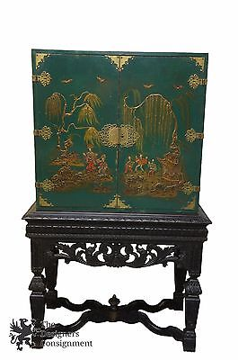 """Antique Asian Dry Bar Cabinet or Bookcase Green W/ Black Carved Base 65"""""""