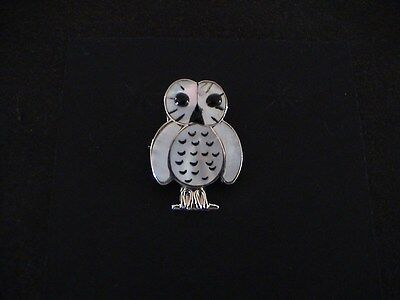 Auth.Native American Indian Sterling/Shell Inlay Owl Brooch/ Kallestewa
