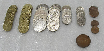 Lot of Australian $33.77 Face Value Coins Different Denominations