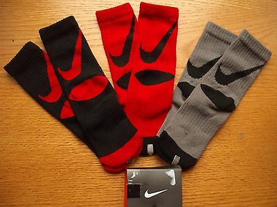 Boys NWT NIKE Crew Socks 3prs Red Black Gray GIANT Swoosh Sz:13C-3Y Ages 4-6