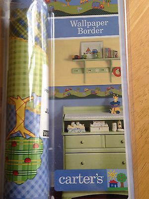 Carter's Baby Boy Wall Border Nursery Decor Blue Green Trucks Grass