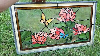 "Used-Stained Glass Window Panel w/ double pan glass -""flowers""(13 7/8""x 24 1/8"")"
